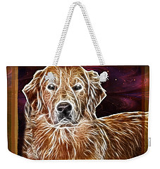 Weekender Tote Bag featuring the photograph Golden Glowing Retriever by EricaMaxine  Price