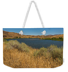 Weekender Tote Bag featuring the photograph Golden Grasses Along The Snake River by Brenda Jacobs