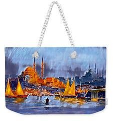 Weekender Tote Bag featuring the digital art Golden Horn Of Istanbul by Pennie McCracken