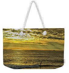 Weekender Tote Bag featuring the photograph Golden Hour At Seal Beach by Tom Kelly