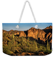 Weekender Tote Bag featuring the photograph Golden Hour On Saguaro Hill  by Saija Lehtonen