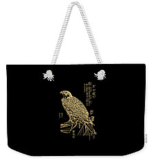 Golden Japanese Peregrine Falcon On Black Canvas  Weekender Tote Bag