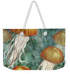 Golden Jellyfish In Green Sea Weekender Tote Bag