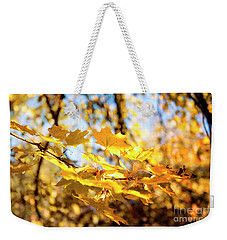 Weekender Tote Bag featuring the photograph Golden Leaves by Ivy Ho