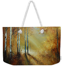 Golden Light In Autumn Woods Weekender Tote Bag