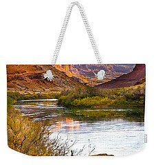 Weekender Tote Bag featuring the photograph Golden Light by Marilyn Hunt