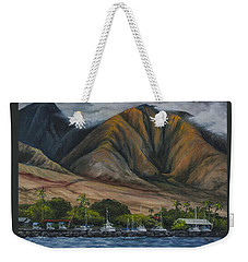 Weekender Tote Bag featuring the painting Golden Light West Maui  by Darice Machel McGuire