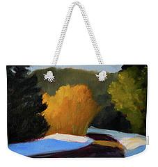 Weekender Tote Bag featuring the painting Golden Light Winter Road by Nancy Merkle