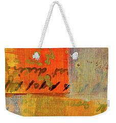 Weekender Tote Bag featuring the painting Golden Marks 12 by Nancy Merkle