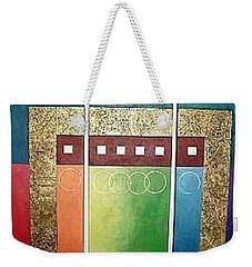 Weekender Tote Bag featuring the painting Golden Mesa by Bernard Goodman