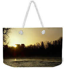 Weekender Tote Bag featuring the photograph Golden Mississippi River Sunrise by Kent Lorentzen