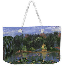 Weekender Tote Bag featuring the painting Golden Pagoda by Jamie Frier