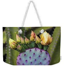 Weekender Tote Bag featuring the photograph Golden Prickly Pear Buds  by Saija Lehtonen
