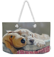 Golden Retriever Dog Sleeping With My Friend Weekender Tote Bag