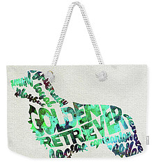 Weekender Tote Bag featuring the painting Golden Retriever Dog Watercolor Painting / Typographic Art by Ayse and Deniz
