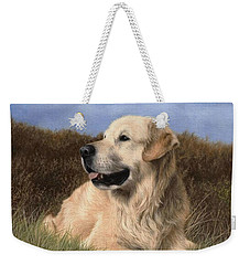 Golden Retriever Painting Weekender Tote Bag by Rachel Stribbling