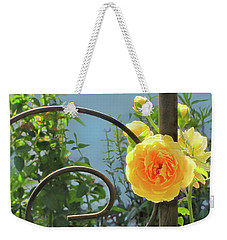 Weekender Tote Bag featuring the photograph Golden Ruffled Rose On Iron Trellis by Nancy Lee Moran