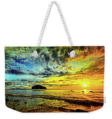 Weekender Tote Bag featuring the mixed media Golden Sea by Susan Maxwell Schmidt