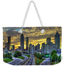 Weekender Tote Bag featuring the photograph Golden Skies Atlanta Downtown Sunset Cityscape Art by Reid Callaway