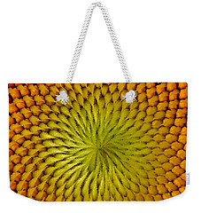 Weekender Tote Bag featuring the photograph Golden Sunflower Eye by Chris Berry