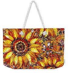 Weekender Tote Bag featuring the painting Golden Sunflower by Natalie Holland