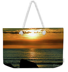 Weekender Tote Bag featuring the photograph Golden Sunset At The Beach IIi by Mariola Bitner