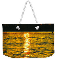 Weekender Tote Bag featuring the photograph Golden Sunset Behind Bridge by Mariola Bitner