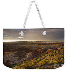 Weekender Tote Bag featuring the photograph Golden Sunset Over The Painted Desert by Melany Sarafis
