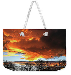 Golden Sunset With Filigree Trees Weekender Tote Bag