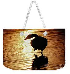 Weekender Tote Bag featuring the photograph Golden Swan by Tatsuya Atarashi