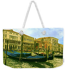 Weekender Tote Bag featuring the photograph Golden Venice by Anne Kotan