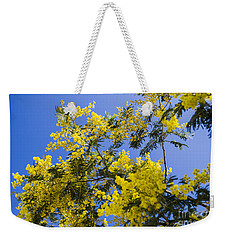 Weekender Tote Bag featuring the photograph Golden Wattle by Angela DeFrias