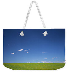 Golden Yellow Of Big Wheat Field,meadows And Closeup Seed With B Weekender Tote Bag by Jingjits Photography