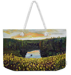 Weekender Tote Bag featuring the painting Goldenrods On Davenport Lake-ellijay, Ga  by Jan Dappen