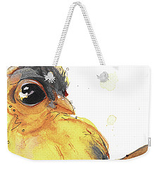 Weekender Tote Bag featuring the painting Goldfinch by Dawn Derman