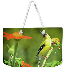 Goldfinch Feeding In A Garden Weekender Tote Bag