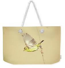 Goldfinch Flying Off  Weekender Tote Bag