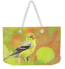 Goldfinch Watercolor Photo Weekender Tote Bag by Heidi Hermes