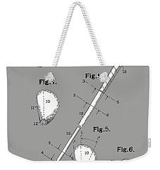 Golf Club Patent Drawing Grey Weekender Tote Bag