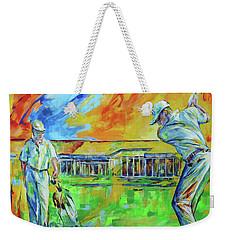 Weekender Tote Bag featuring the painting Golfclub Mettmann by Koro Arandia