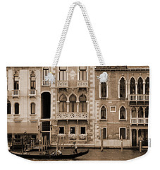 Weekender Tote Bag featuring the photograph Gondola Crossing Grand Canal by Donna Corless