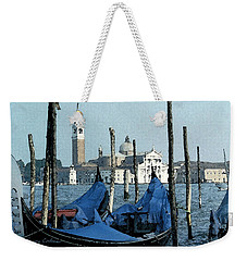 Weekender Tote Bag featuring the digital art Gondolas Across San Giorgio by Donna Corless