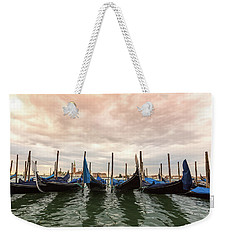 Weekender Tote Bag featuring the photograph Gondolas In Venice by Melanie Alexandra Price