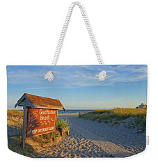 Good Harbor Sign At Sunset Weekender Tote Bag