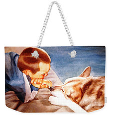 Weekender Tote Bag featuring the painting Goodbye Misty by Marilyn Jacobson