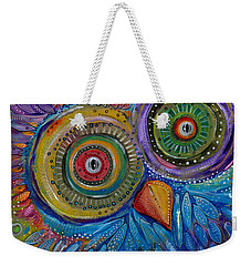 Googly-eyed Owl Weekender Tote Bag by Tanielle Childers