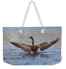 Goose Flapping Wings-rear View Weekender Tote Bag