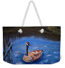 Weekender Tote Bag featuring the painting Goose by Leslie Allen