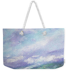 Weekender Tote Bag featuring the painting Gorgeous Lake Landscape by Judith Cheng