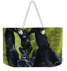 Gorilla Playing With Baby Weekender Tote Bag